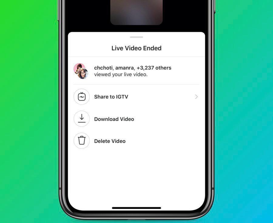 Böylece artık Instagram'da yapılan canlı yayınlar yayın bittikten sonra tek tuşla IGTV'ye kaydedilebiliyor.