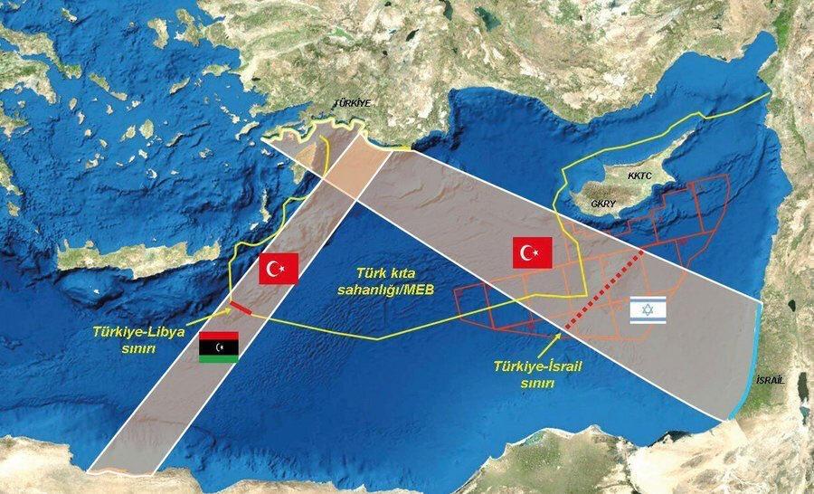 Sosyal medyada dolaşıma sokulan haritada Türkiye'nin kıta sahanlığına ilişkin detaylar yer alıyor.