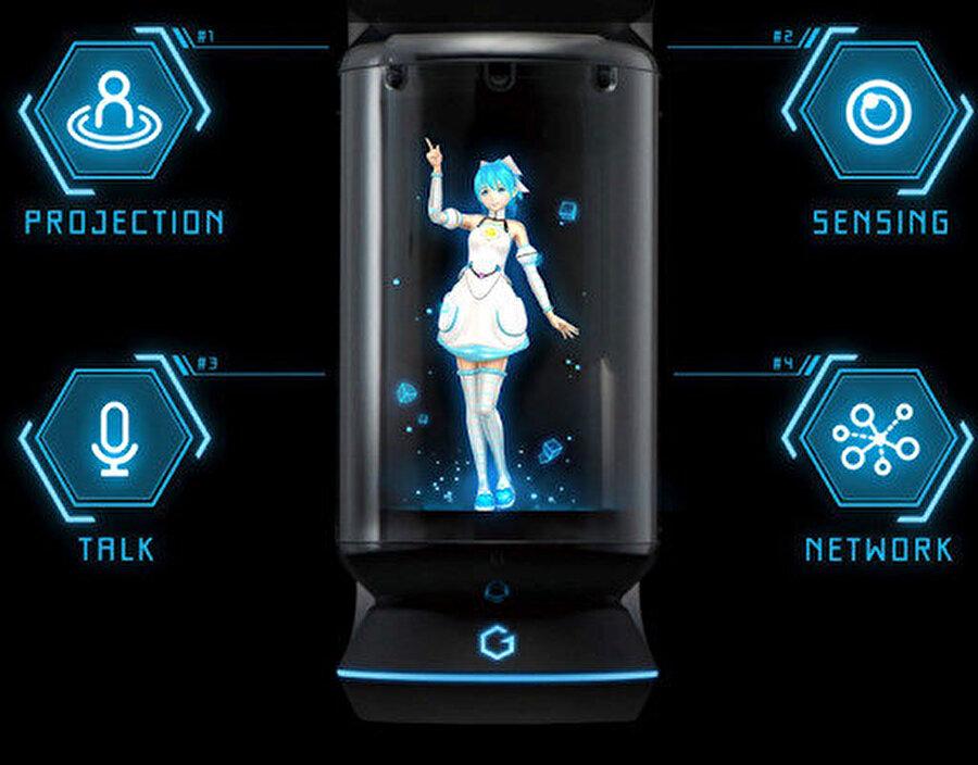 zuma Hikari adında 20 yaşındaki bir anime karakterinin cam bir tüpün içine holografik yansıması ile çalışan Gatebox, hassas kameraları, termometresi, mikrofonu ile evdeki hareketleri algılayabiliyor ve buna bağlı olarak iletişime geçiyor.