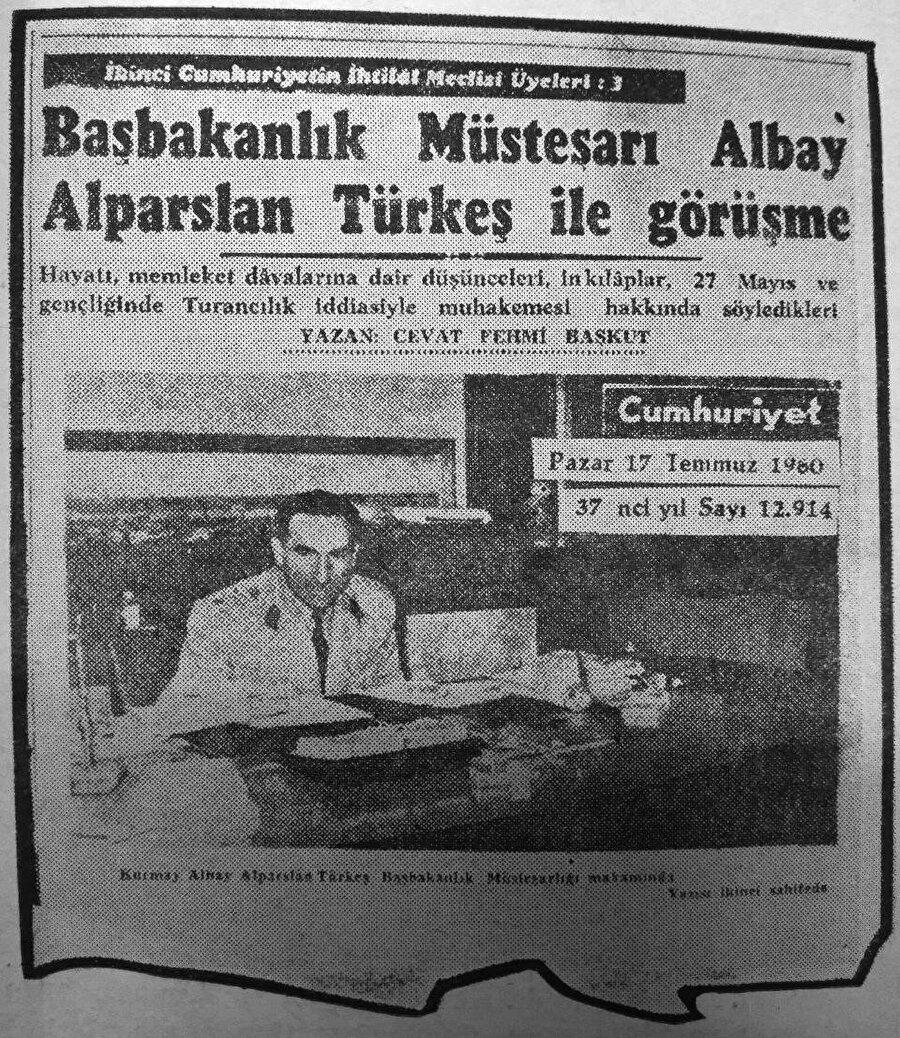 Başbakanlık müsteşarı Albay Alparslan Türkeş ile görüşme