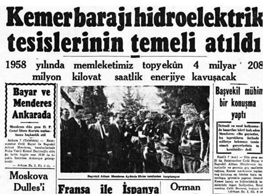 Kemer barajının temeli atıldı. Tarih 8 Ekim 1955