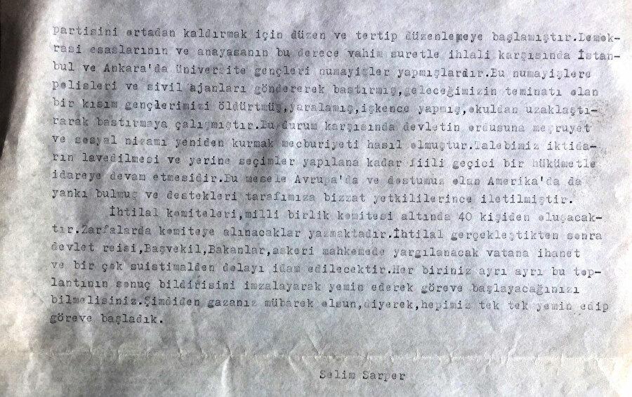 Selim Sarper'in İnönü'nün Demokrat Parti hakkındaki galiz sözlerini ve işi nasıl darbeye getirdiğini anlatan yazısı