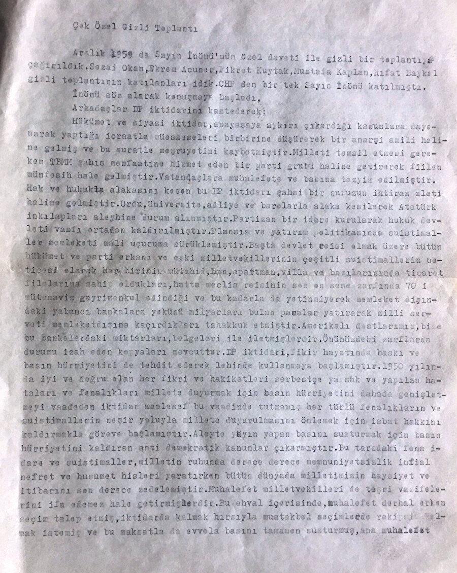 Selim Sarper'in gizli toplantıda İnönü'nün konuşmasını aktardığı yazı