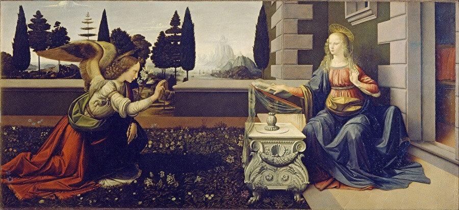 Leonardo da Vinci, Meryem'e Müjde (Annunciation), 1472-5: Leonardo da Vinci'nin çıraklıktan profesyonelliğe geçtikten sonraki döneminde tasarladığı ve resimlediği ilk dini çalışmalarından biri. Luka İncili'nde anlatılan öyküye göre, Cebrail Meryem'i selamlayarak kendisine İsa'yı doğuracağını müjdeliyor.