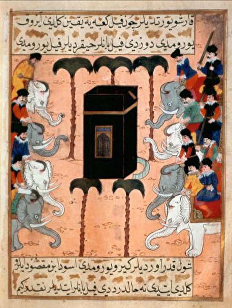 Erzurumlu Yusuf'un oğlu olan Mustafa'nın Siyer-i Nebi'sinde Fil Hadisesi'ni anlatan bir minyatür.