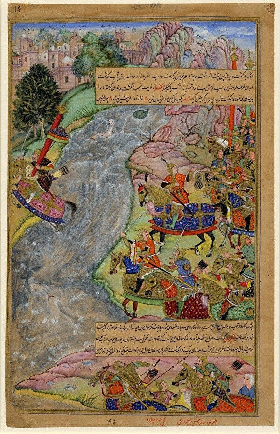 Cengiz Han ve Moğol ordusundan kaçan Celaleddin Harzemşah ve askerlerini İndus nehrini geçmeye çalışırken gösteren bir minyatür.