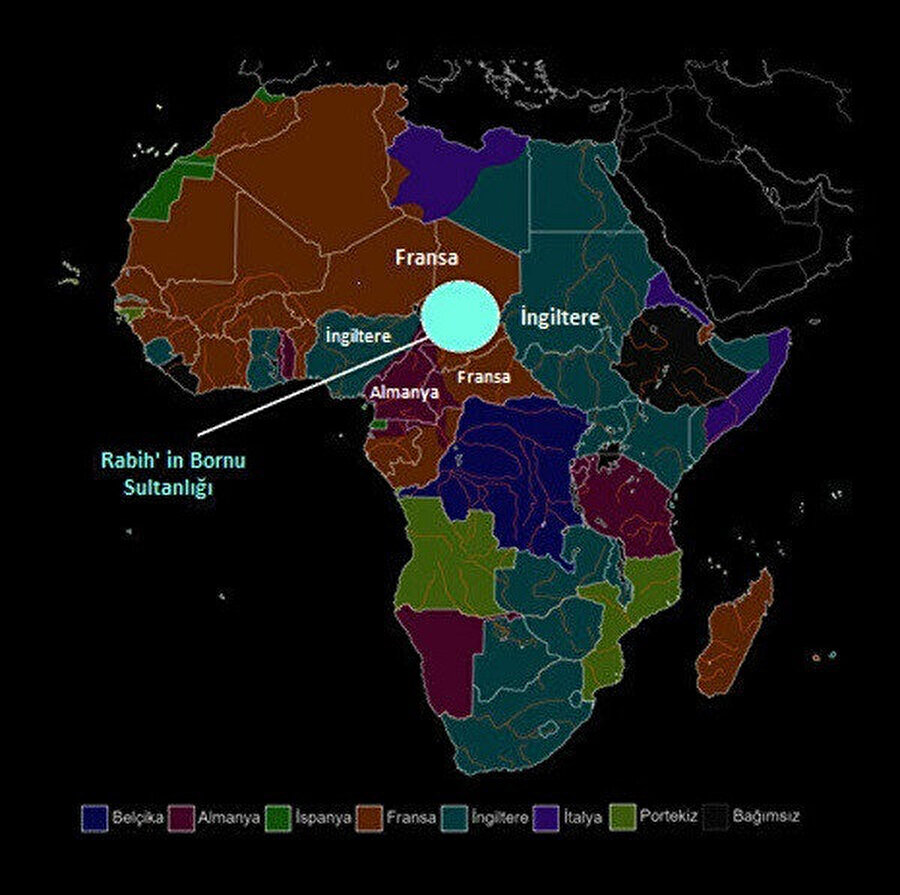 Berlin Konferans'ı sonrası sömürgecilere verilen bölgeler ve Rabih'in Bornu Sultanlığı.