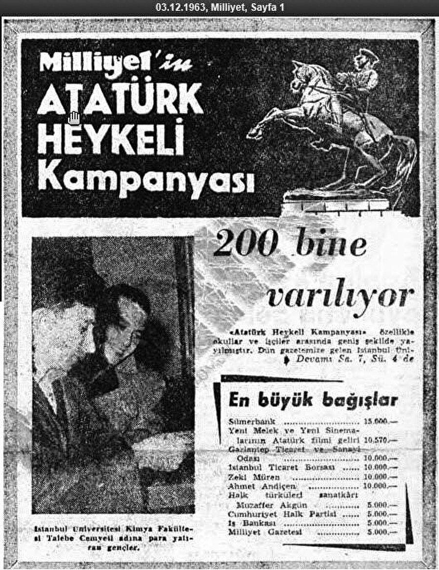 6 Aralık 1963 tarihli Milliyet'e göre 200.000 bin lira heykel bağışı toplanır.