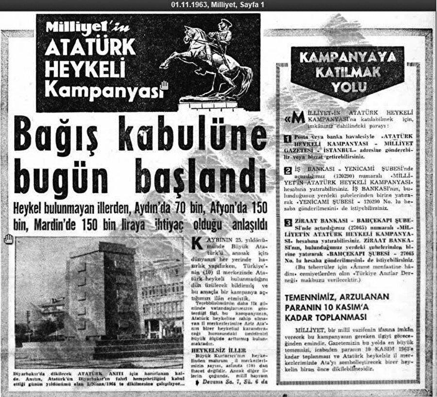 1 Kasım 1963'de bir heykel kampanyası başlatır.