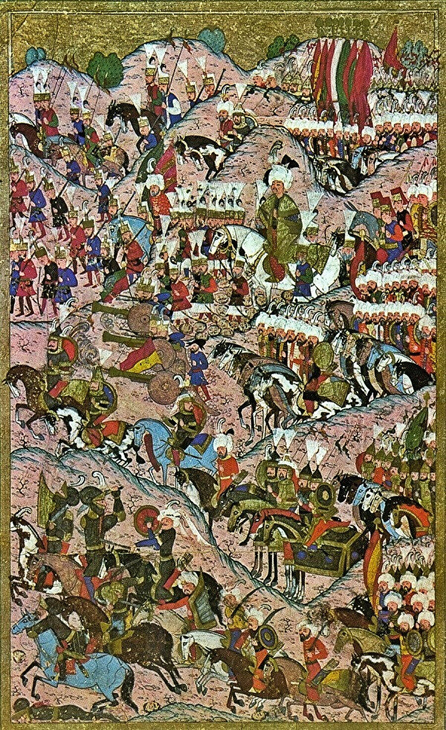 İki saat içinde Osmanlı ordusunun zaferiyle sonuçlanan, tarihe de dünyanın en kısa süren meydan savaşı olarak geçen Mohaç Meydan Savaşı (1526) sonrası Kanuni Sultan Süleyman'ı ve Osmanlı askerlerini, zaferi kutlarken tasvir eden bir minyatür.