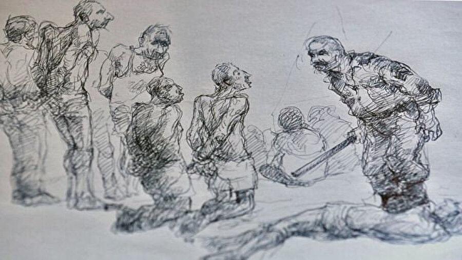 Rejim zindanlarındaki işkencenin çizimlere yansıması.