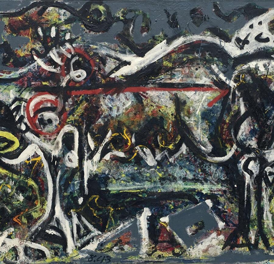 """The She-Wolf, 1943: Pollock'un ilk kişisel sergisinde tek bir eser satılmamamıştı ama MoMa'nın müdürü Alfred Barr serginin ardından Guggenheim ile iletişime geçerek """"Kurt Kadın"""" resmini koleksiyona eklemek istediğini söyledi. 650 dolar karşılığında koleksiyonuna bir Jackson Pollock işi katan dünyadaki ilk müze MoMa oldu (Museum of Modern Art)."""