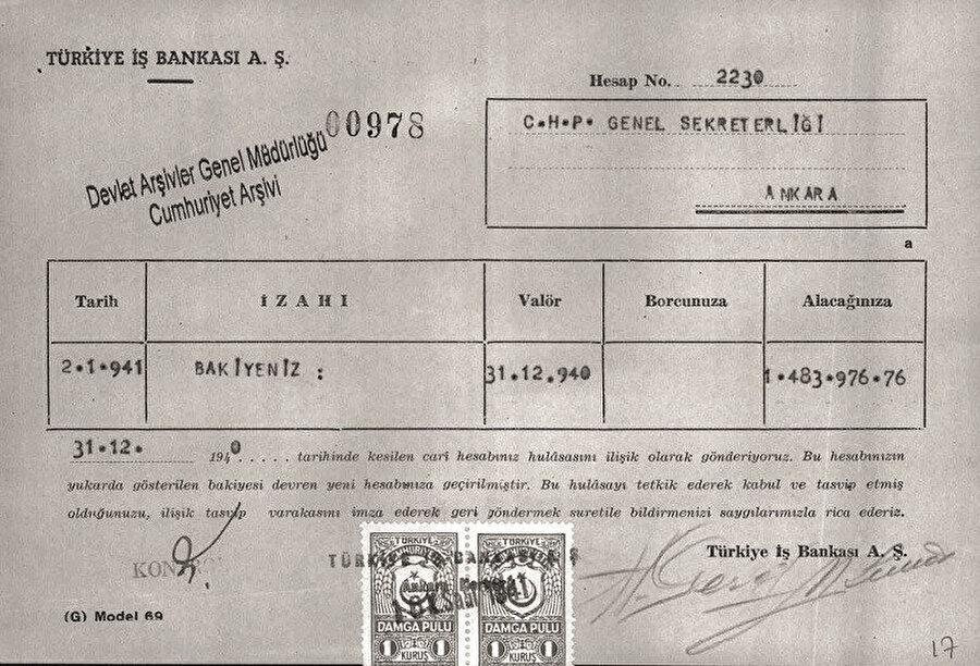 Devlet Arşivlerinde yer alan belgeler milletin malı İş Bankası'nın paralarının CHP'ye aktarıldığını gösteriyor. İşte o belgeler: