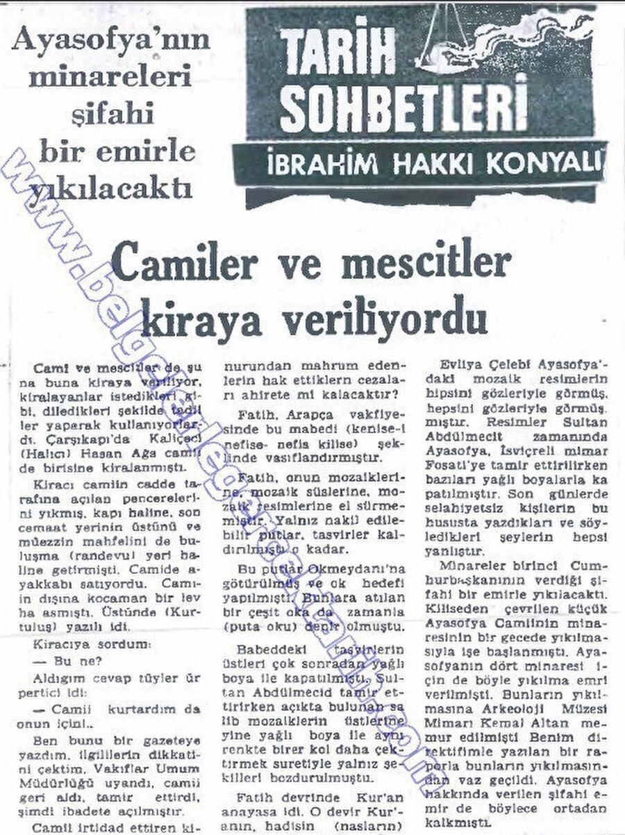 İbrahim Hakkı Konyalı'nın Yeni Asya Gazetesi'ndeki 1 Ekim 1974 tarihli yazısı