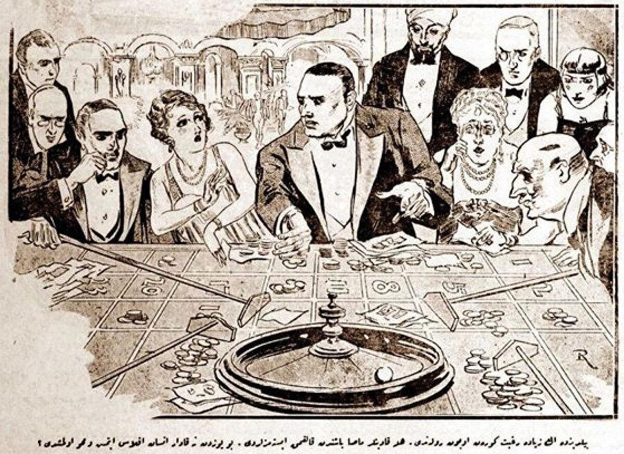 1927'de çıkan bir gazetede Yıldız Sarayı'nda oynanan ruleti gösteren temsilî resim