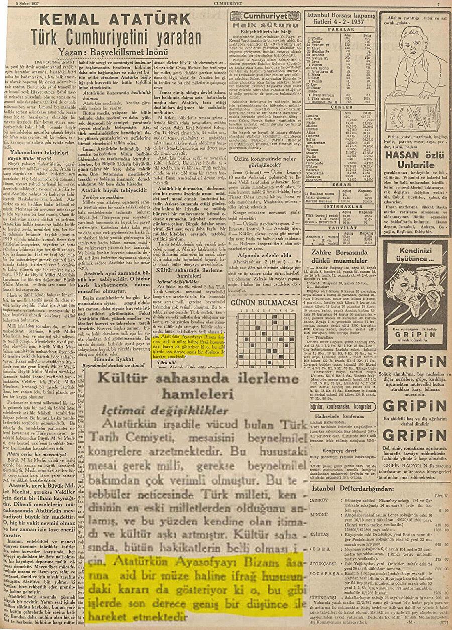 5 Şubat 1937 tarihli Cumhuriyet gazetesi
