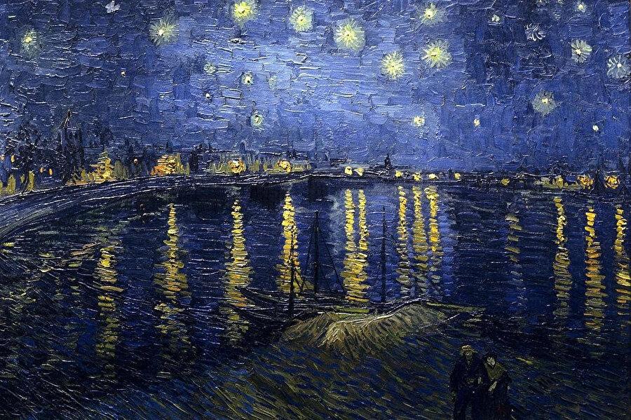 Rhone Nehri Üzerinde Yıldızlı Gece, Van Gogh, 1889.