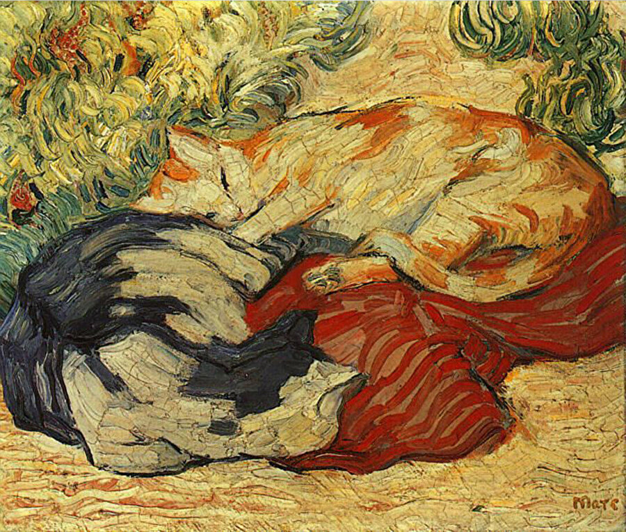Cats on a red cloth, Franz Marc, 1909.