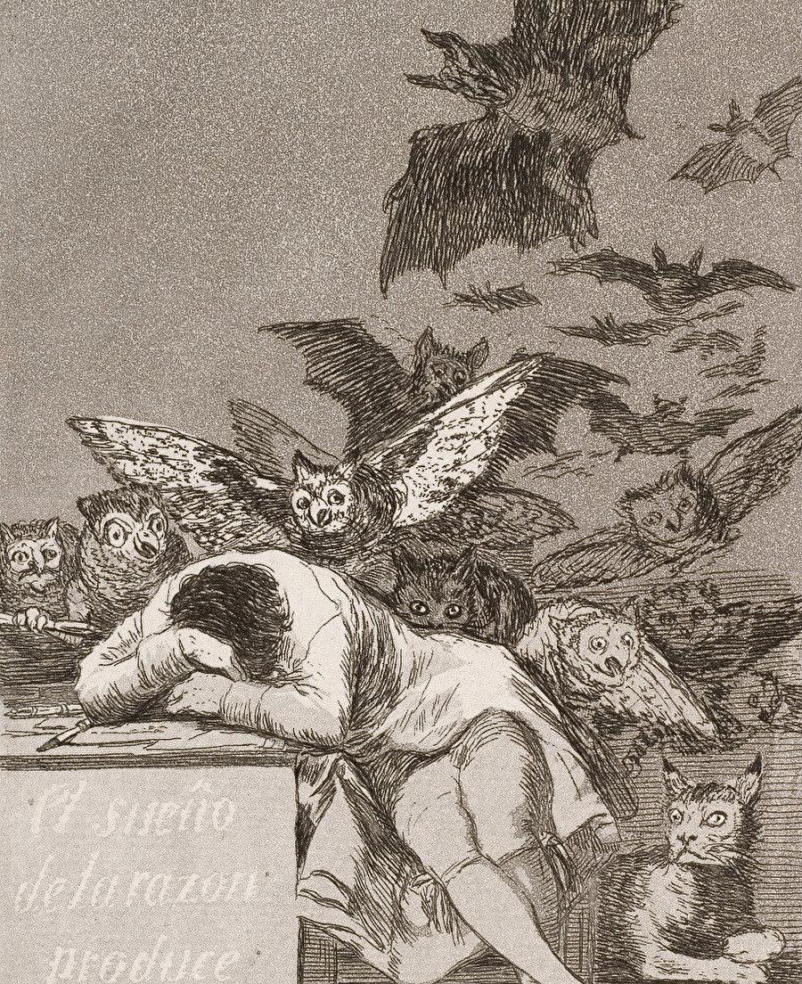 Aklın Uykusu Canavarlar Yaratır (The Sleep of Reason Produces Monsters), Los Caprichos No. 43, 1799.