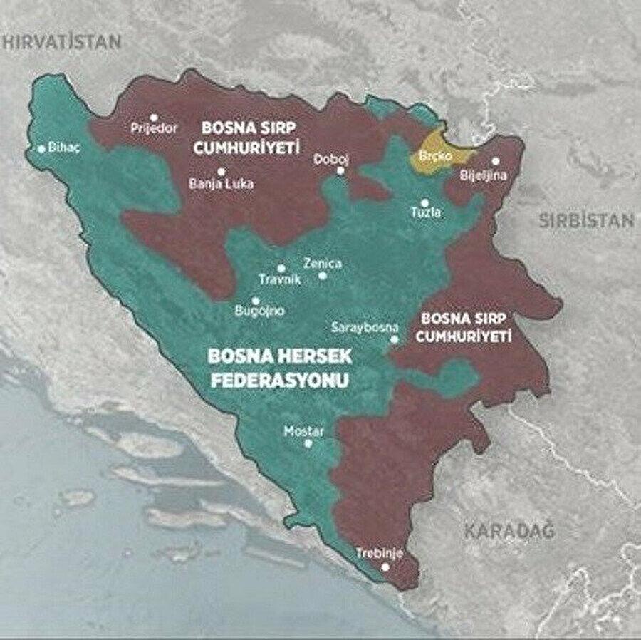 Savaş sonrasında imzalanan Dayton Anlaşması ile ortaya çıkan Bosna Hersek Haritasında sınırlar.