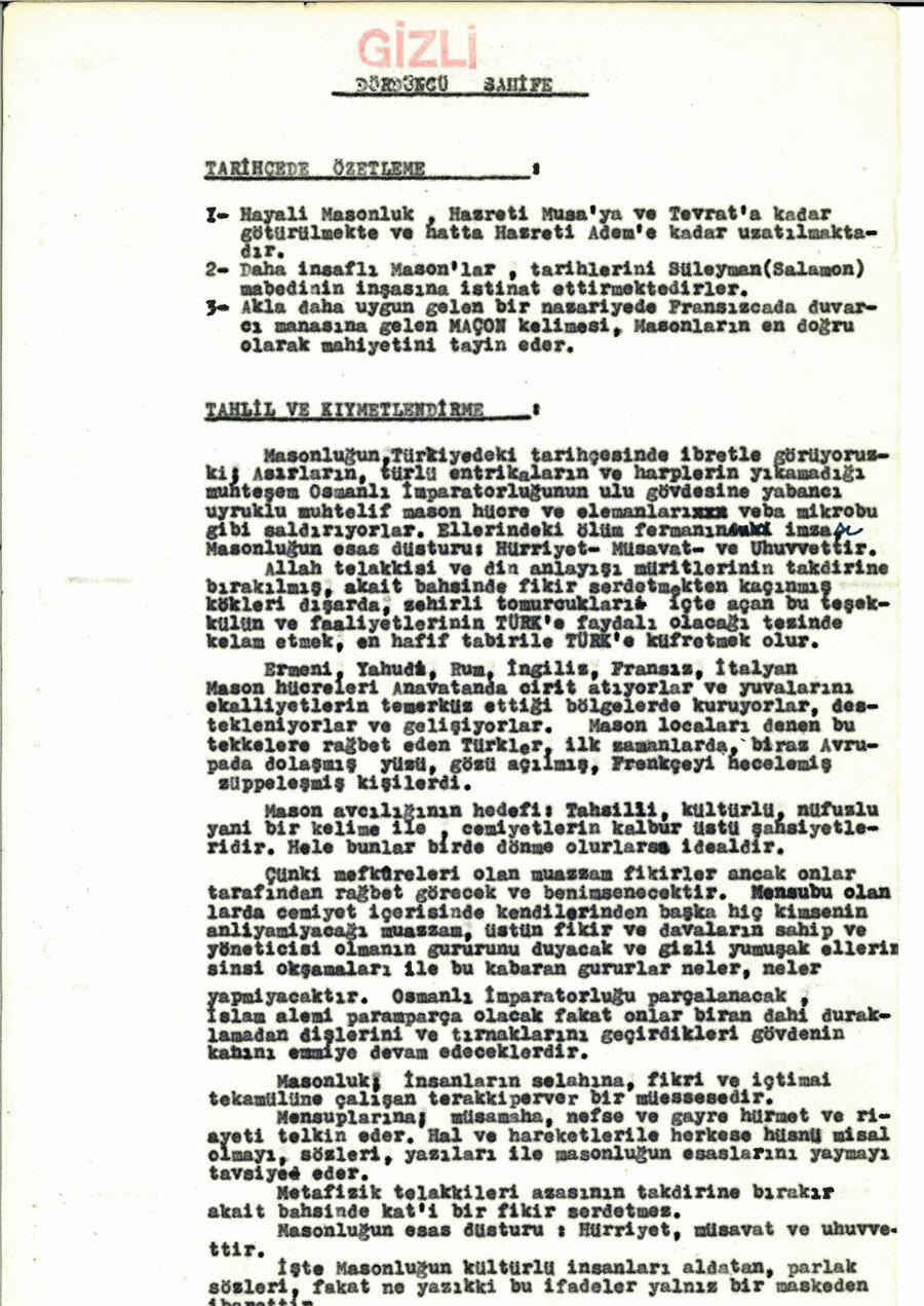 MAH/MIT tarafından 'MASON TEHLIKESI' başlığıyla hazırlanan rapor. Dördüncü sayfa.