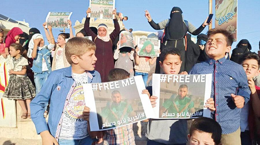 """""""Ebu Hüssam'ı serbest bırakın"""" sloganları"""