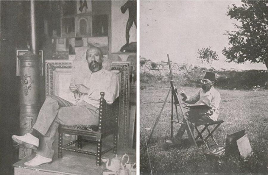 Osman Hamdi Bey çalışmalarını yaparken.