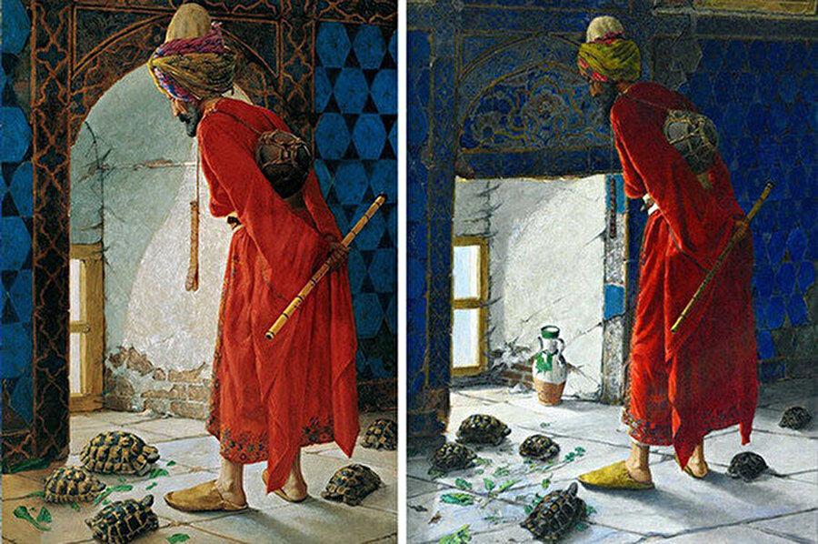 Kaplumbağa Terbiyecisi'nin 1906 (solda) ve 1907(sağda) versiyonu.