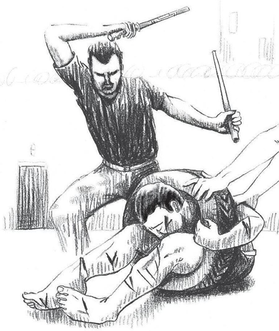 Rejim askerlerinin uyguladığı çeşitli işkence yöntemlerinden biri.