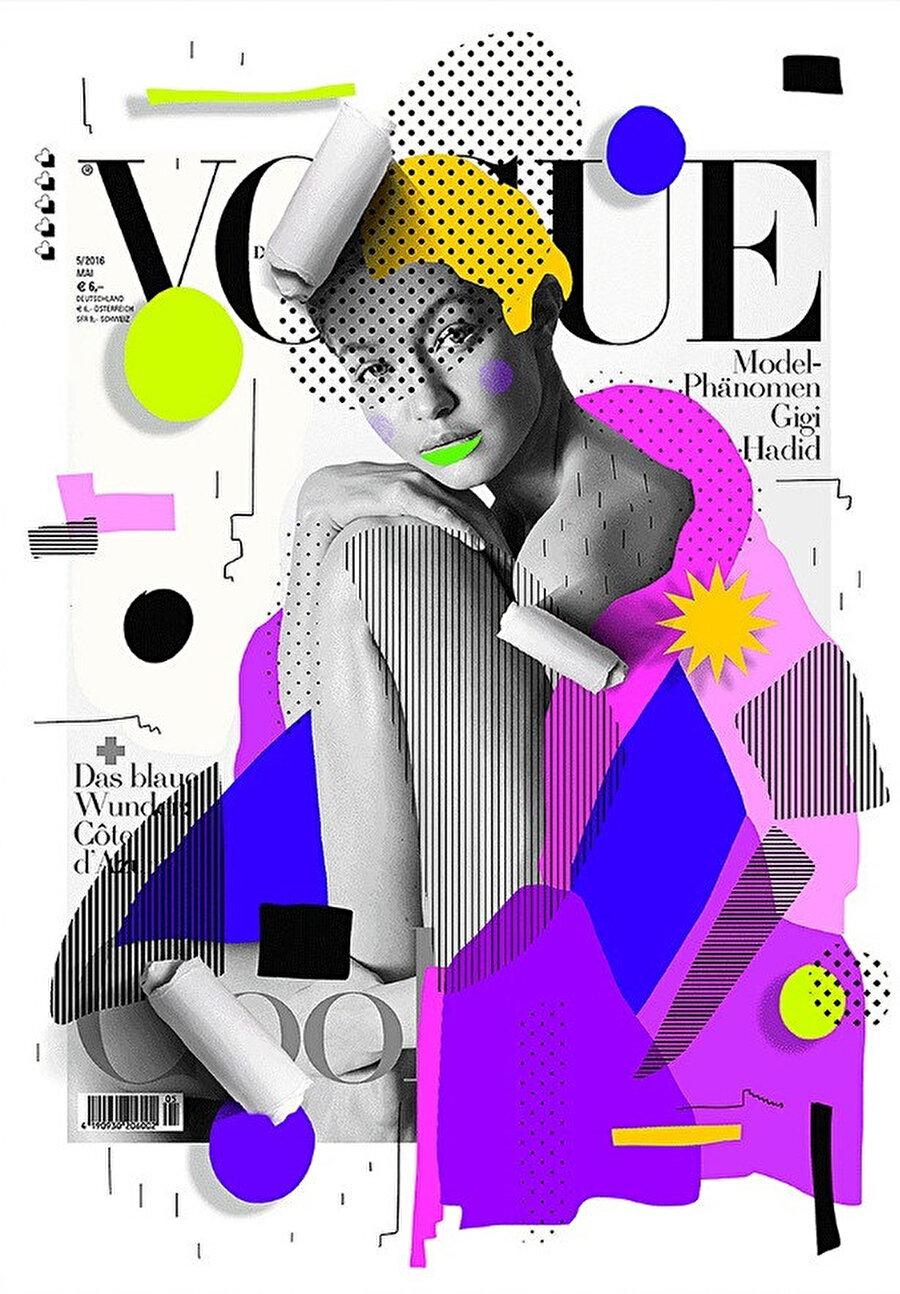Fotoğrafı Camilla Akrans tarafından çekilen Vogue Almanya Mayıs 2016 kapağı. Kapak modeli Gigi Hadid.