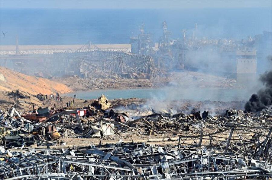 Patlama sonrası Beyrut Limanı