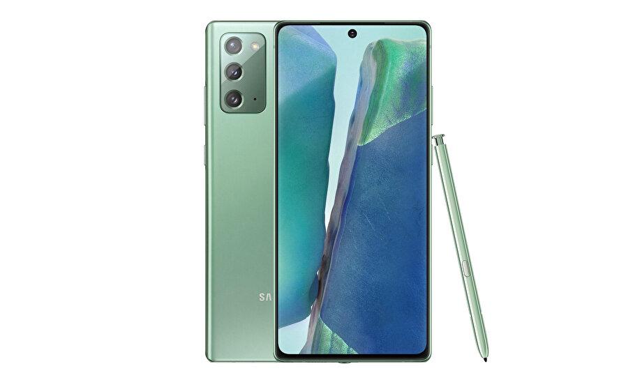 Galaxy Note 20'nin ekran/gövde oranı hayli fazla. Üstelik S-Pen desteği de her fotoğrafta özellikle gösteriliyor.
