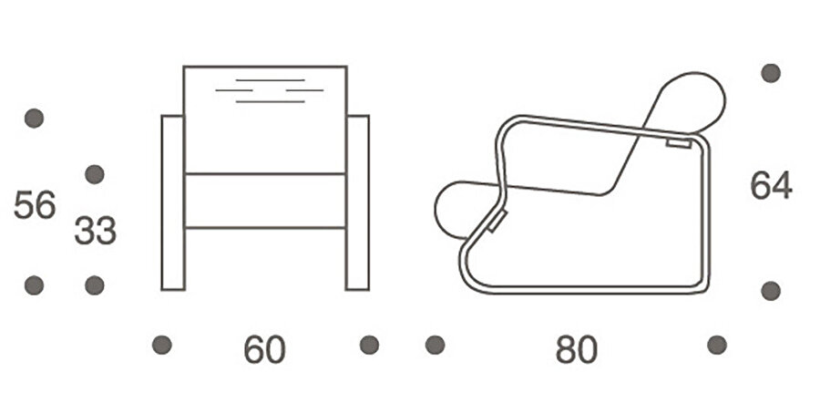 Paimio Chair ölçüleri.