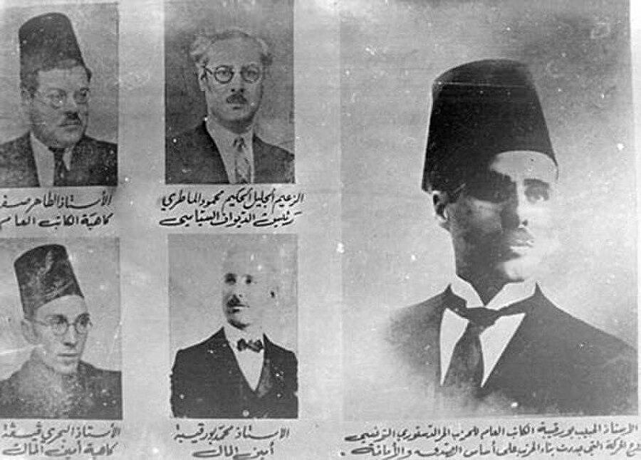 Burgiba (Sağda), Sifr (Üstte, solda), Materî (Üstte, ortada), Guiga (Altta, solda) ve Muhammed Burgiba (Altta, ortada), Düstur'dan istifa ettiler.