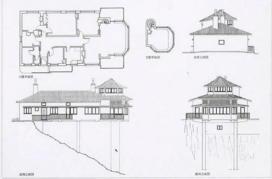 Yapının ilk halinin plan ve görünüşleri.