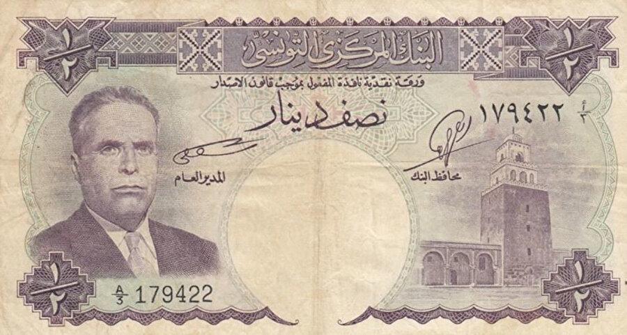 Habib Burgiba'nın ilk icraatlarından biri de, üzerinde kendi resminin yer aldığı banknot basmak olmuştu.