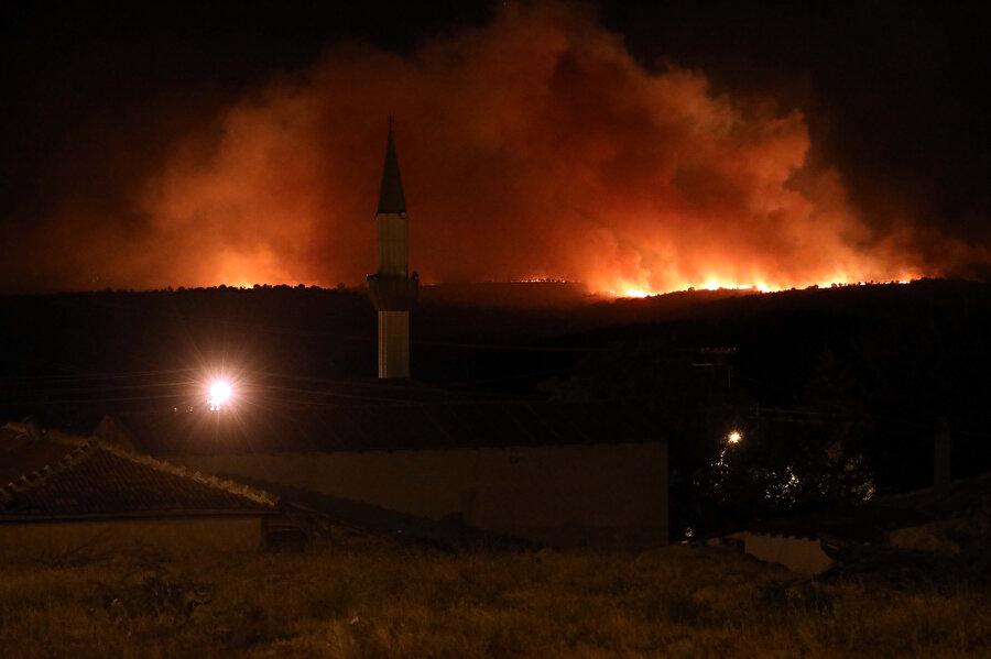 Orman yangını böyle görüntülendi.