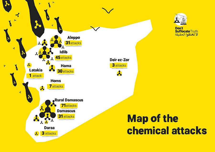 Suriye'de kimyasal silah saldırılarının haritası.