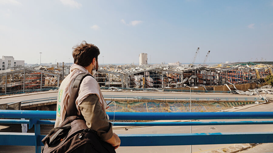 Devasa patlama sonrası Beyrut Limanı.