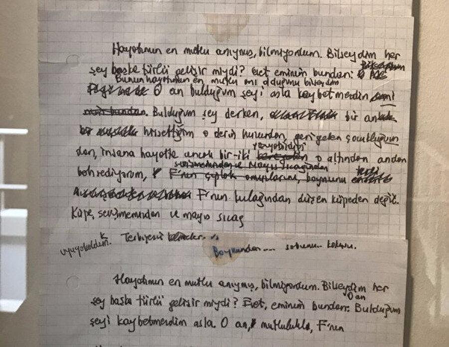 Romanın ve müzenin tasarı sürecinde Orhan Pamuk'un tuttuğu notlar, taslaklar ve eskizler de müzede sergileniyor.