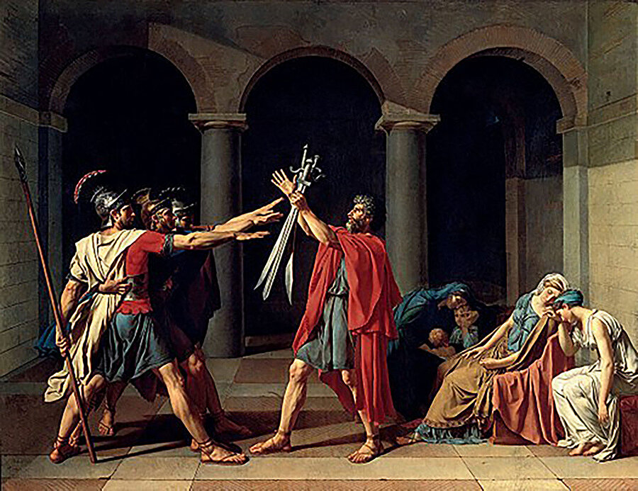 Jacques-Louis David, Oath of the Horatii, (1785).