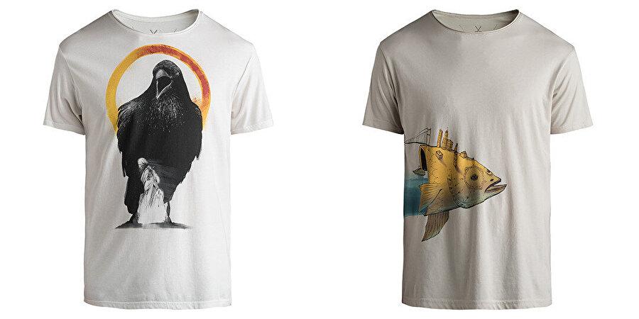 """Kaan Bağcı'nın illüstrasyon serilerinden bağımsız Kaft tişört tasarımları; """"Corvus"""" ve """"The Big Fish""""."""