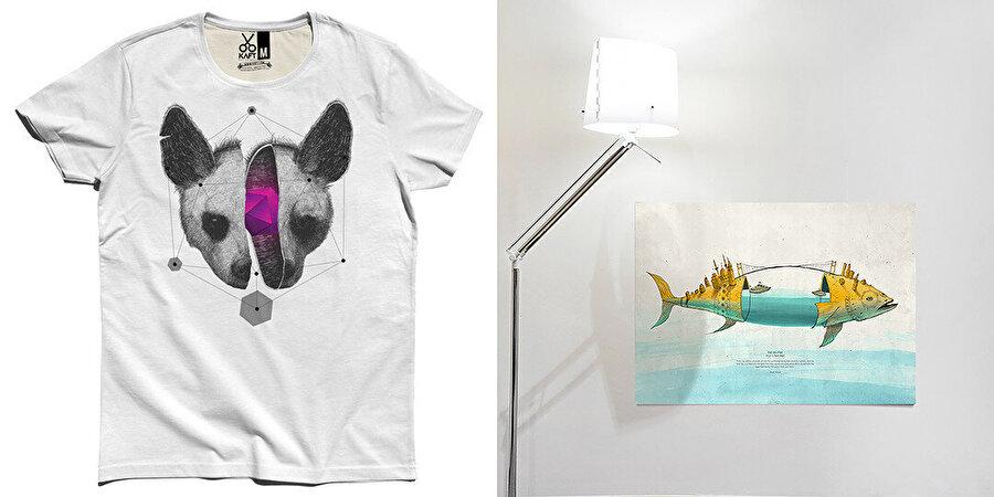 """Kaft'ta Kaan Bağcı'nın tasarımları yalnızca tişört olarak değil sweatshirt, poster olarak da kullanılıyor. Nanostructure serisinden """"Six Points"""" tasarımının tişört versiyonu ve """"The Big Fish"""" posteri."""