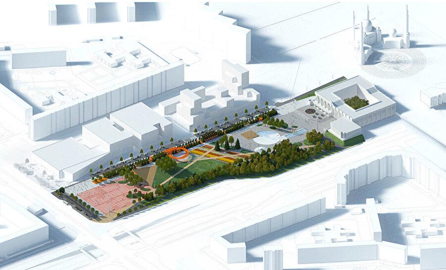 Aksonometrik plan. Solda; pembe renkli Etkinlik Meydanı ve Amfitiyatro. Tepe alanda; ağaçlar ve önünde Yeşil Meydan. Sağda; belediye binasına uzanan Kültür Meydanı, havuz ve çeşme.