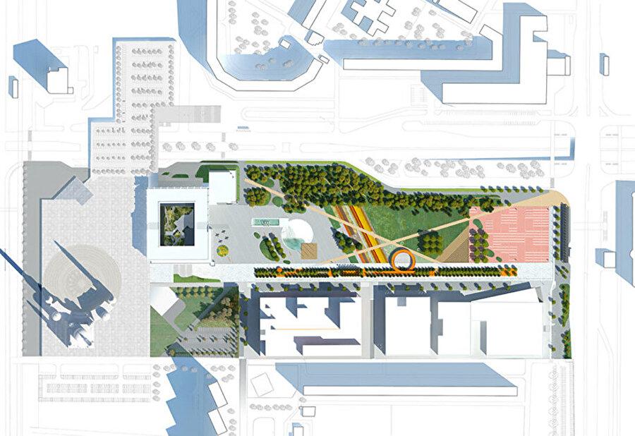 Vaziyet planı. Batıda; Belediye Binası, önünde havuz ve çeşme, Yeşil Meydan. Kuzeyde; ağaçlar. Güneyde; yürüme yolu boyunca pavyonlar ve seyir platformu. Batıda; Amfitiyatro ve Etkinlik Meydanı.