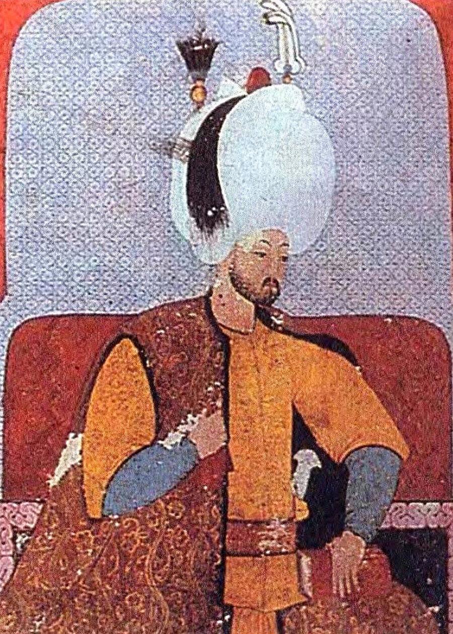 Sultan III. Murad'ın portresi (Şemailname, TSMK,H1563,vr. 58a).