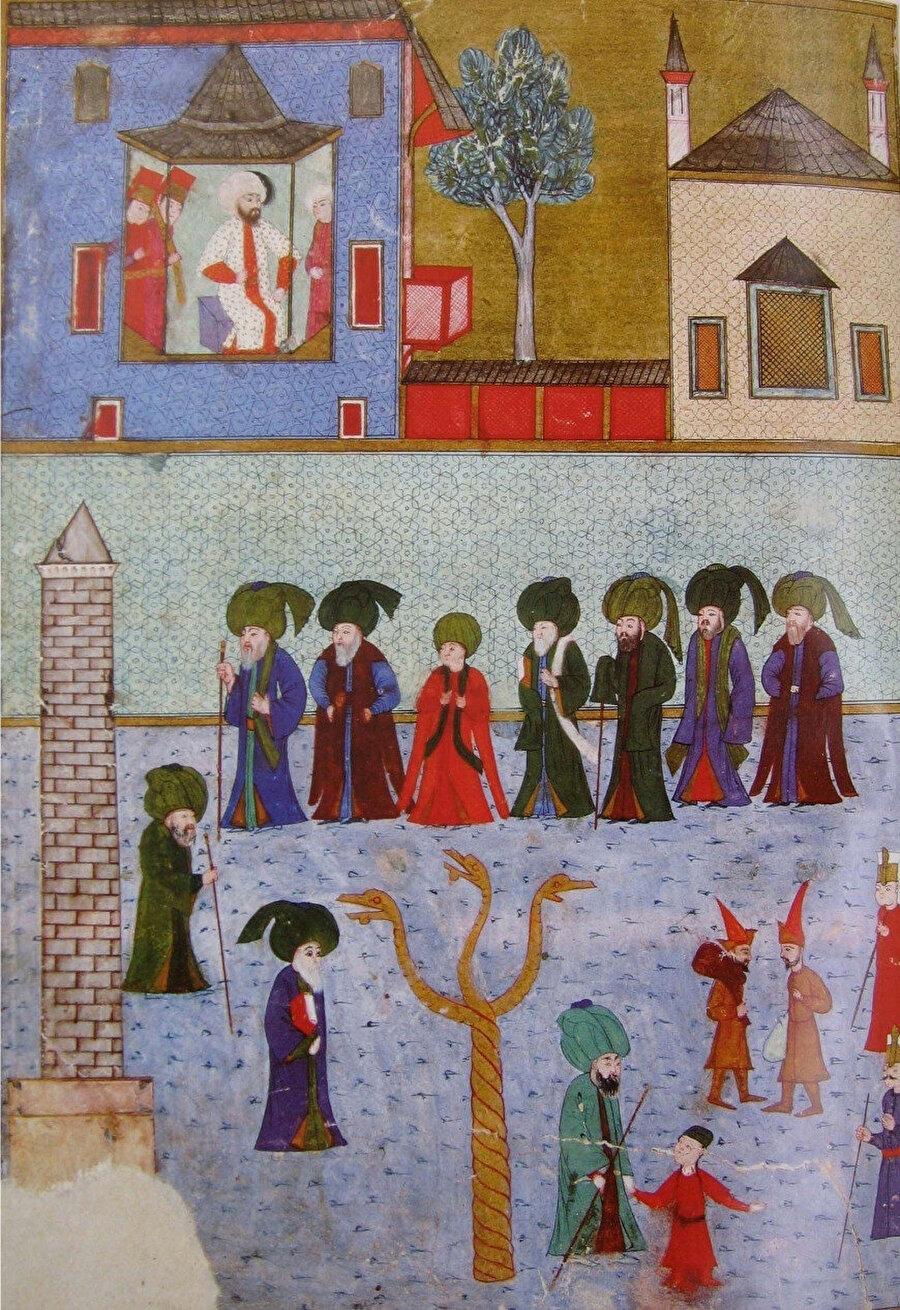 Sadatın At Meydanı'ndan padişahın locasına doğru yürüyüşü.