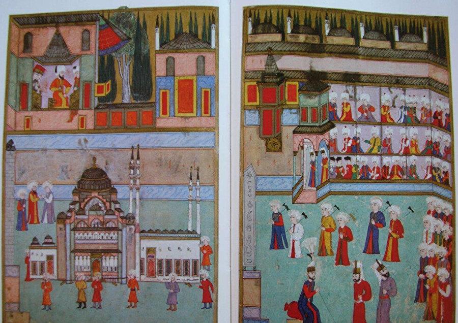 Önde Süleymaniye maketi, arkada hassa mimarları alayı.