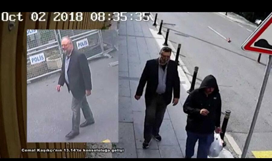 Gazeteci Cemal Kaşıkçı'nın kıyafetleri giydirilerek, dublörü olarak kullanılan kişinin kamera görüntüleri.