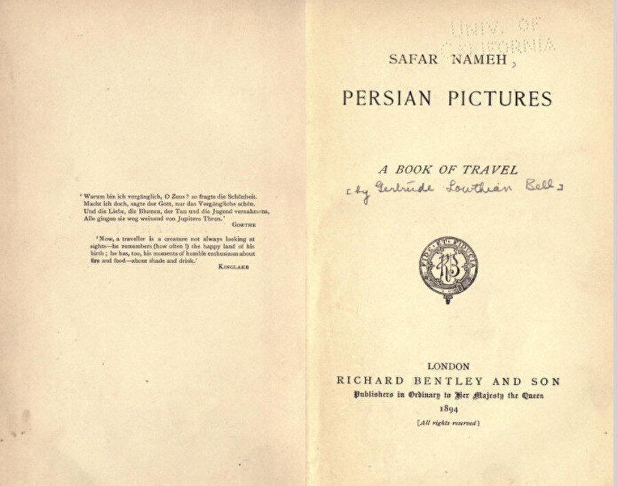 """Gertrude Bell'in """"Safar nameh: Persian Pictures"""" isimli kitabının ilk baskısına ait kapak sayfası."""